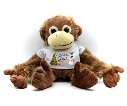 Personalised Monkey Teddy Bear N12 - First Christmas Gift